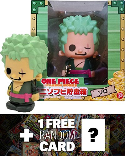 Zoro: One Piece x Panson Works Mini-Figure Soft Piggy Bank Series + 1 FREE Official Japanese One Piece Trading Card Bundle