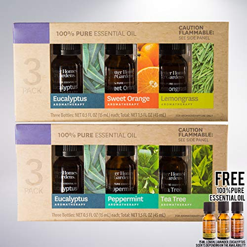 3 Pack 100% Pure Essential Oil Set Eucalpytus, Peppermint and Tea Tree bundled with 15 mL - 3 Pack 100% Pure Essential Oil Set: Eucalyptus, Sweet Orange and Lemon Grass with free 15mL Essential Oil