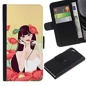"Apple iPhone 5 / iPhone 5S , la tarjeta de Crédito Slots PU Funda de cuero Monedero caso cubierta de piel ("" Girl Flowers Make Up Red Lips Sexy Nature"")"