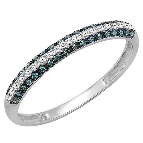 Dazzlingrock Collection 0.20 Carat (ctw) 10K Round Blue & White Diamond Ladies Wedding Band 1/5 CT, White Gold, Size 7 (Round Wedding Band Diamond)
