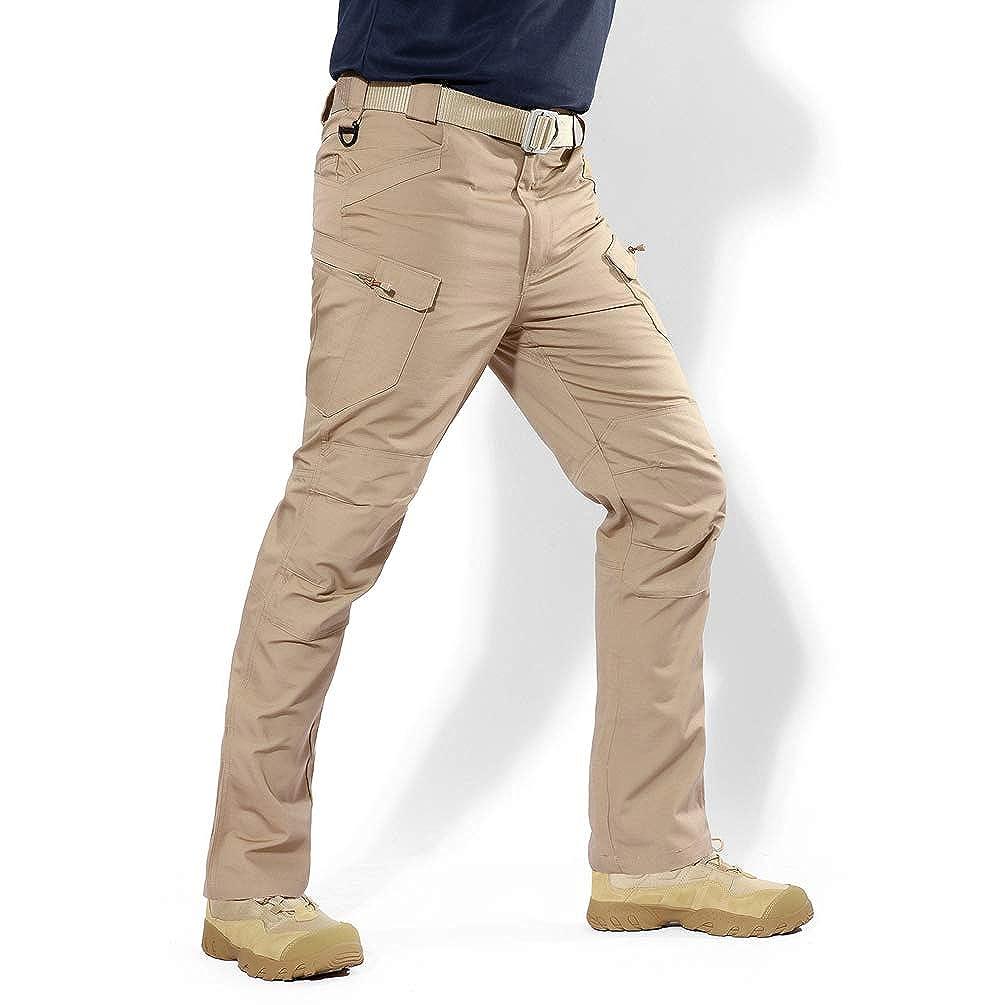 Xinwcanga Hommes Style Militaire Cargo Combat Sports De Pantalon Straight Slim Pantalons de Plein air Camping Randonn/ée