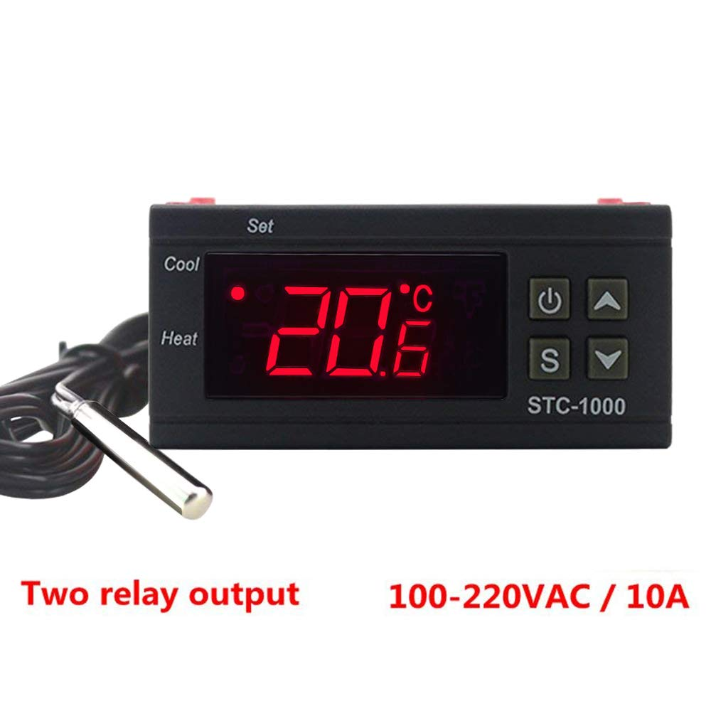 KETOTEK STC-1000 Digital Temperature Controller Digital LED Temperature Controller 110V Thermostat Sensor 2 Relay Output (110V-220V)