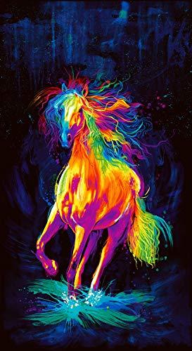 Timeless Treasures Digital Painted Horse 24'' Panel Black Fabric
