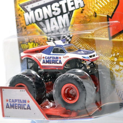 Hot Wheels 2013 1:64 SCALECAPTAIN AMERICA 1ST EDITIONS MONSTER JAM TRUCK w/ CRUSHABLE CAR