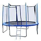 14FT Round Trampoline with Enclosure, Net W/ Spring Pad Ladder
