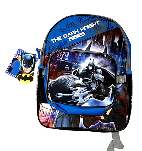 Fast Forward Little Boys' Batman Full Size Backpack with Detachable Rectangular Lunch Kit, Blue/Black, One Size