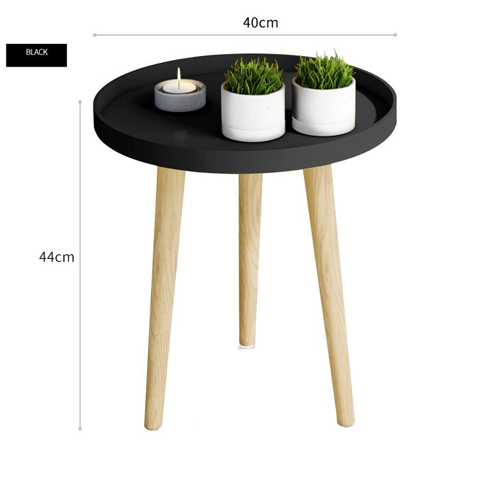 XIAOLIN 小さな丸いテーブル北欧の小さなコーヒーテーブル簡単なベッドルームのベッドヘッドテーブルミニコーナーテーブルバルコニーのコーヒーテーブル簡単なソファのサイドテーブルシンプルで実用的なトレイテーブルバルコニーダイニングTablevオプションの色、サイズ (色 : Black, サイズ さいず : 40*44cm) B07F37671W 40*44cm|Black Black 40*44cm