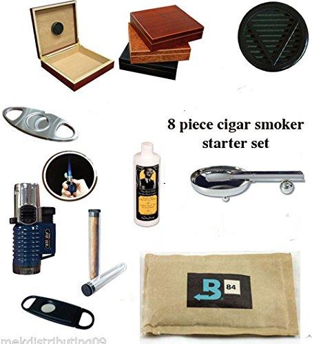 - 20 Count Cigars Black Finish Humidor Cutters Lighter Ashtray Cigar Caddy Gift Set & Seasoning Kit