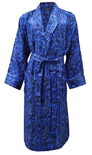 Herren Luxus Morgenmantel aus Seide - Blau Pfau Muster