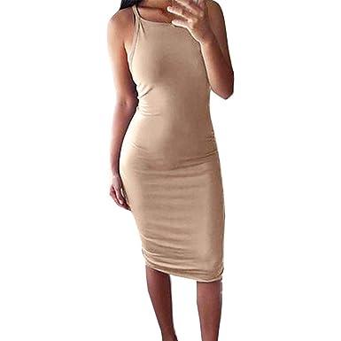 e5e415aef7f AIMEE7 Robe Sling Femme Chic Robe Moulante à sans Manches Couleur Pure Slim  Robes Sexy Robe de