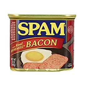 Spam with Real Hormel Bacon, 12 Ounce Can (Pack of 6)