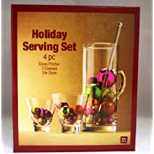 Holiday Serving Set, Martini / Mixed Drink Set, Pitcher, 2 Glasses & Stir Stick