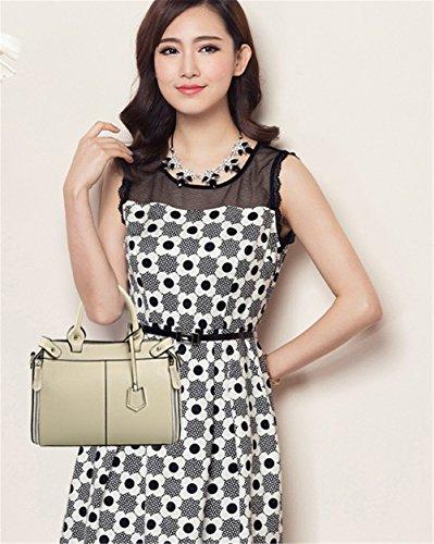 Xinmaoyuan Mujer bolsos de cuero Bolsos de mano de cuero sencillas bolsas de hombro bolsa bandolera de gran capacidad Blanco