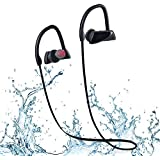 Bluetooth Headphones, Wireless SportsEarphones with Noise-Cancelling Mic, Powerful Tight Bass, IPX7 Waterproof, iOS Battery Indicator, Sweatproof Earbuds for Gym, Running, Workout