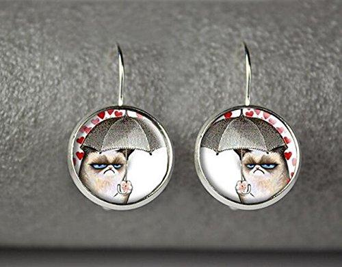 Grumpy Cat earrings, Grumpy Cat jewelry, Grumpy Cat accessories (Reddit Halloween Costume)