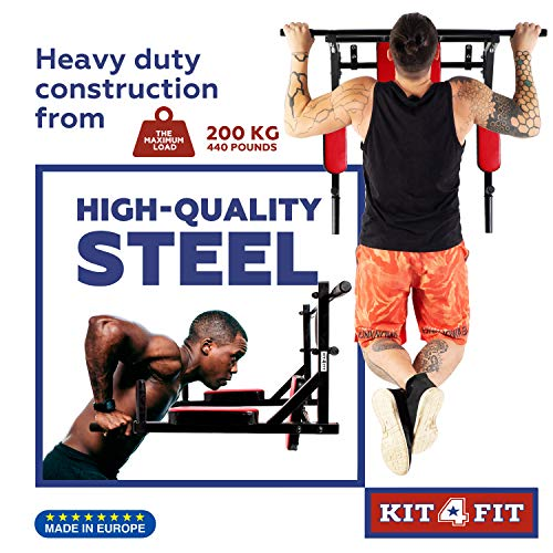 850776b3da82b Wall Mounted Pull Up Bar and Dip Station with Vertical Knee Raise -  Multi-Grip Chin Up Bar Dip Stand Power Tower Set - Home Gym Exercise  Equipment for ...
