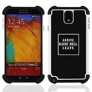 """SAMSUNG Galaxy Note 3 III / N9000 / N9005 - 3 en 1 impreso colorido de Altas Prestaciones PC Funda chaqueta Negro cubierta gel silicona suave (Negro Levante Lección infierno impresiones Vida Inspiring"""")"""