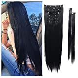 hair ties forever 21 - Full Head Hair Extensions 8Pcs 18 Clips 17-26 Inch Curly Straight Full Head Clip in hair extensions Hairpiece #1 BLACK Full Head Wigs For Women