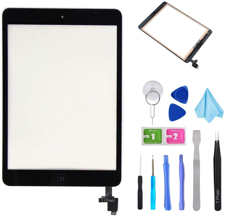 Black Digitizer Repair Kit for iPad Mini 1&2 A1432 A1489 Touch Screen Digitizer Replacement with IC Chip + Home Button + Tools + Pre-Installed Adhesive