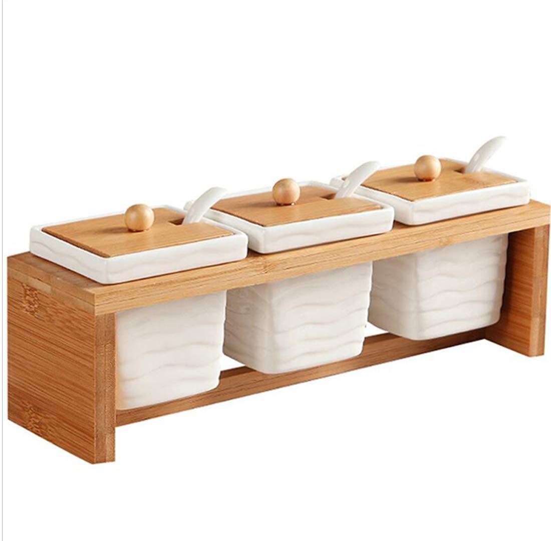 DECJ Kitchen Utensils Seasoning Jar European Simple Kitchenware Ceramic Seasoning Box Square Watermark Set 31.0 Cm*10.0 Cm*10.0 Cm [Energy Class A]