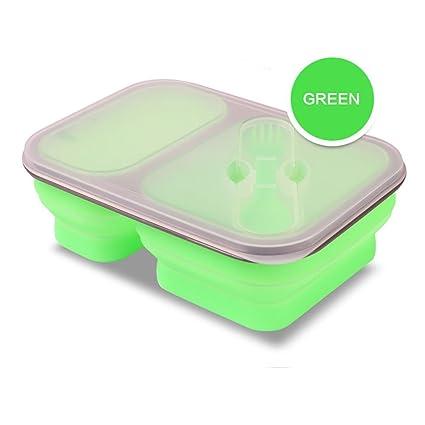 Almuerzo Bento caja plegable y apilable recipientes de almacenamiento de alimentos, silicona para hombres,