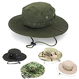 AYAMAYA Sun Protection Tactical Boonie Hat Quick Drying Fishing Hats for Men  Women b297ee507507
