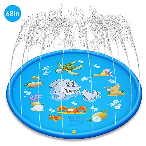OYE HOYE Kid's Outdoor Water Sprinkler Splash Pad Colorful Splash Play Mat Ideal for Parties or as a Gift Safe Supervised Inflatable Outdoor Water Toys for Children of All Ages from 18 Months +