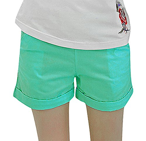 US&R, Women's Plain Comfy Roll Hem Solid Color Secret Fit Belly, SkyBlue 4 ,Manufacturer(M)