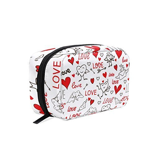 Seamless Love And Heart Makeup Case Bag Appropriate Capacity Portable Beauty Girl And Women Cosmetic Bags Storage Bags for Travel by Sunshine (Image #2)