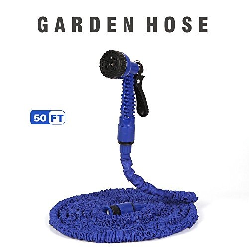 50FT Expanding Garden Hose Lightweight Water Hose With 7 Adjustable Patterns Sprayer Nozzle Shrinking Water Pipes for Watering and Car Washing-( 50 FT Blue)