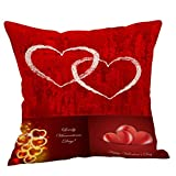 Nadition Clearance !!! Love Heart Pattern Cotton Linen Pillow Case Valentines Day Wedding Gift Throw Pillow Case Cushion (A)