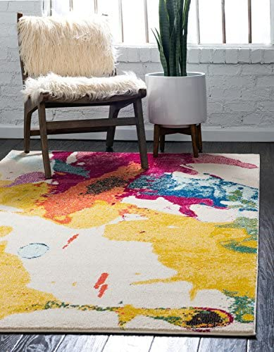 Unique Loom Estrella Collection Colorful Abstract Beige Area Rug 8' 0 x 11' 0