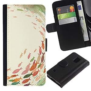 Billetera de Cuero Caso Titular de la tarjeta Carcasa Funda para Samsung Galaxy S5 V SM-G900 / Pond Fishing Pastel Watercolor Art / STRONG