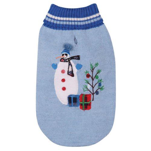 East Side Collection Acrylic Deck The Halls Dog Sweater, X-Small, 10-Inch, Blue, My Pet Supplies