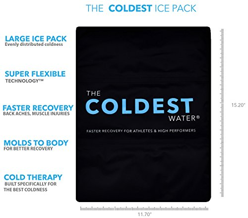 The Coldest Ice Pack Gel Reusable Flexible Therapy Best For Back Pain Leg Arm Knee Shoulder Sciatic Nerve Recovery Medical Grade X-Large Big Compress 15'' x 12'' by The Coldest Water by The Coldest Water (Image #1)