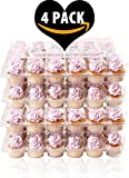 (4 Pack) Fill'nGo Carrier Holds 24 Standard Cupcakes - Ultra Sturdy Cupcake Boxes | Tall Dome Detachable Lid | Clear Plastic Disposable Containers | Storage Tray | Travel Holder | Also Regular Muffins