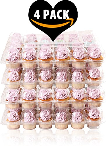 (4 Pack) Fill'nGo Carrier Holds 24 Standard Cupcakes - Ultra Sturdy Cupcake Boxes | Tall Dome Detachable Lid | Clear Plastic Disposable Containers | Storage Tray | Travel Holder | Also Regular Muffins by Cakes of Eden