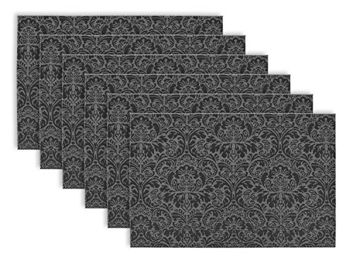 DII Woven Damask Vinyl Double Border Placemats -  - placemats, kitchen-dining-room-table-linens, kitchen-dining-room - 51DfKdp IUL -