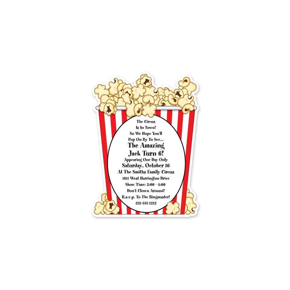 Childrens Birthday Party Invitations   Popcorn Invitation