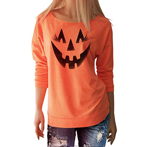 Costumes Halloween Fun Work For (SUKEQ Womens Slouchy Halloween Costume Pumpkin Fun Long Sleeve Pullover Blouse, Orange)