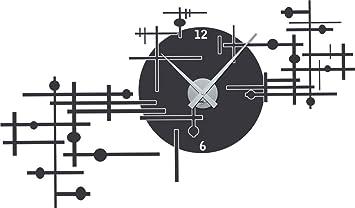 orologio da parete adesivo per soggiorno design geometrico moderno orologio argento grigio scuro