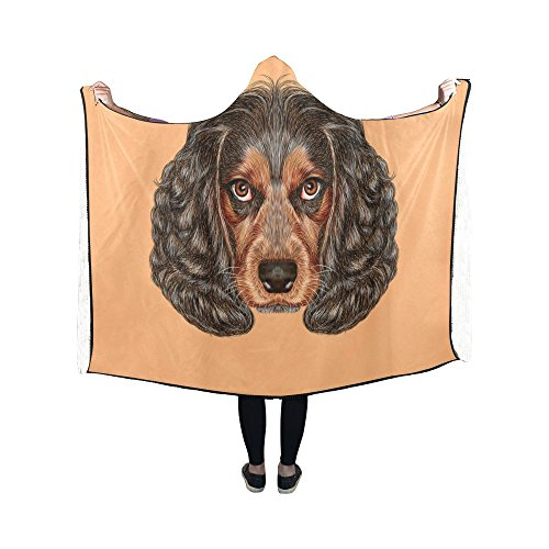 InterestPrint Hooded Blanket Funny Spaniel Dog Wearable Blanket 50x40 Inch Hooded Throw Wrap Cloak Soft Robe