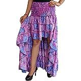 Mogul Interior Queenie Women Hi Low Skirt Upcycled Printed Silk Tiered Ruffle Flirty Skirts S/M