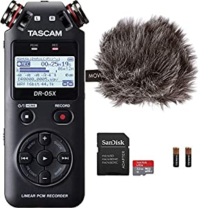 "Tascam DR-05X Stereo Handheld Digital Audio Recorder & USB Interface Bundle with Movo""Deadcat"" Windscreen and 32GB Micro SD Card (Latest Version)"