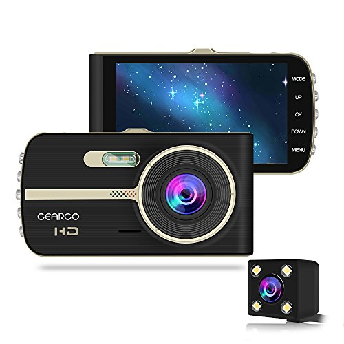 """[2018 Upgraded] GEARGO Dash Cam 4"""" Display 1080P HD Overhead Dashboard Mounted Camera Car Video Recorder with Dual..."""