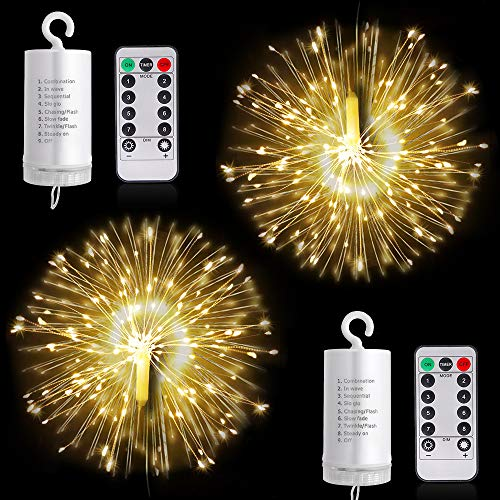 Firework Lights LED String Lights, 8 Modes Dimmable Fairy Lights with Remote Control, Battery Operated Hanging Starburst Lights with 120 LED Waterproof for Parties Home Outdoor Decoration (2 Pack)