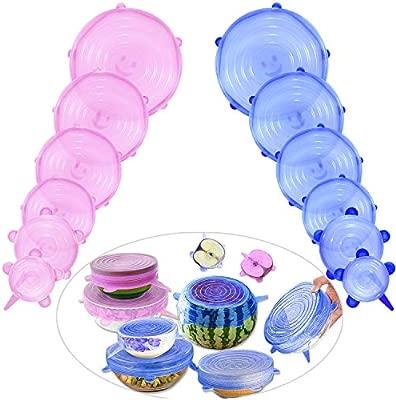 Comius Tapas para Botes de Cocina, 12 Pcs Sin BPA Tapas de Silicona EláSticas, Tapas Silicona Ajustables Cocina, Lavavajillas, Microondas (Azul + ...