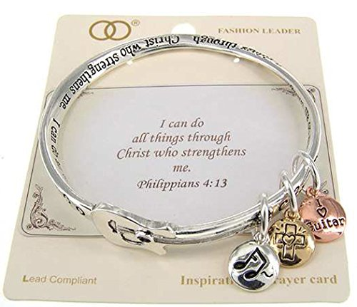 Jewelry Nexus Philippians 4:13 Three Charm Bangle Inspirational I do everything through him who gives me strength