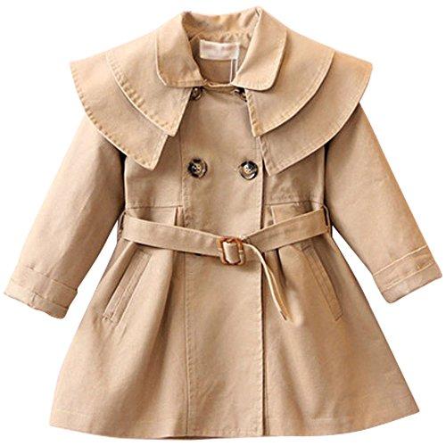 (JIANLANPTT Toddler Kid Girls Autumn Fashion Trench Coat Wind Jacket Dress Outwear Khaki)