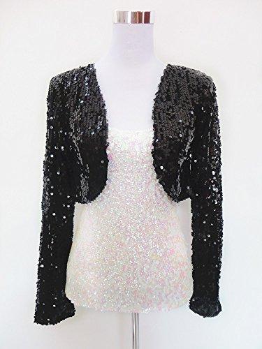 Femme Dgfhr Femmes À Manches De Pour Pure Cardigan Black Paillettes Veste Longues 15x5qp